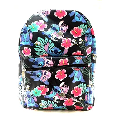 Disney Lilo and Stitch Allover Print Black 16 inch Girls Large School Backpack-black | Kids' Backpacks