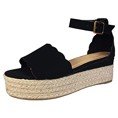 BAMBOO Women's Scallop Edged Single Band Espadrilles Platform Sandal with Ankle Strap, | Sandals