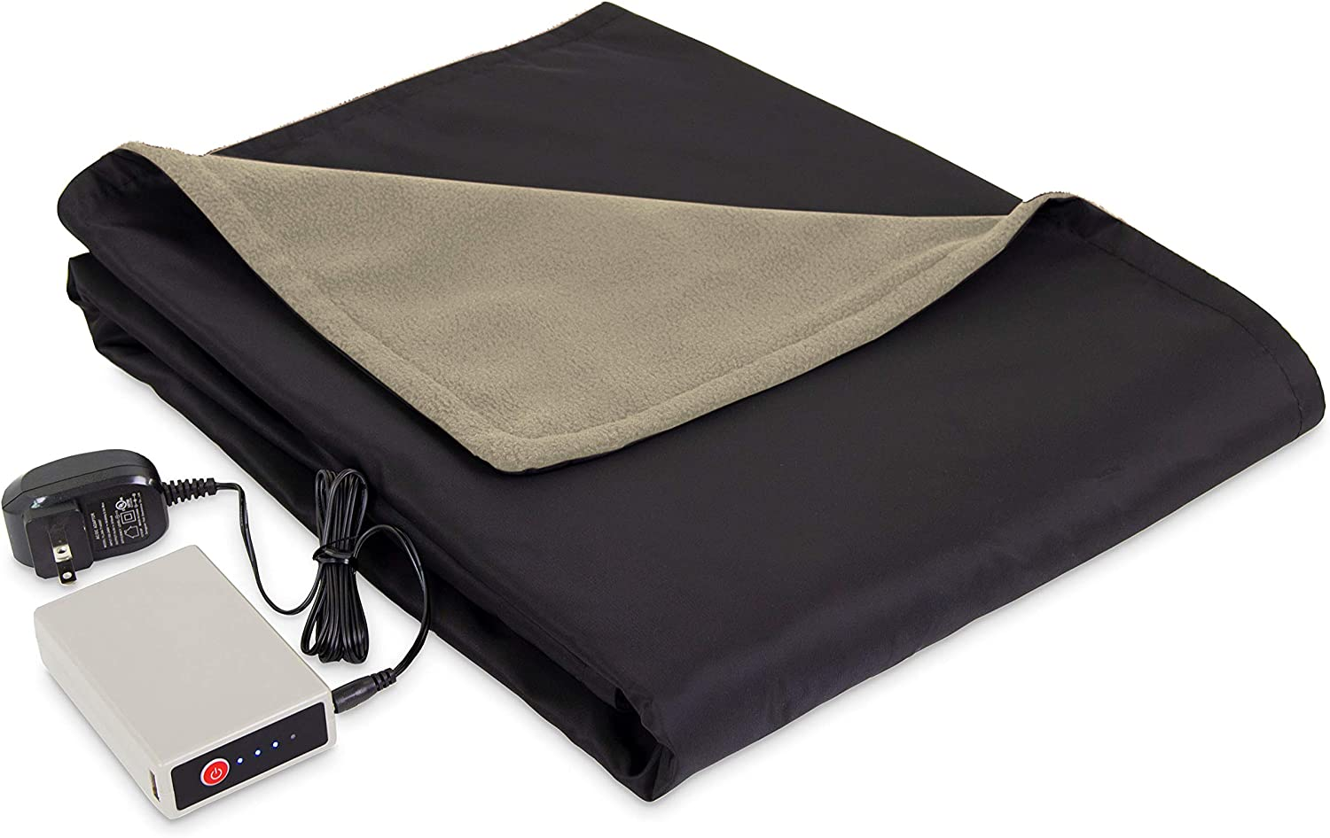 Eddie Bauer Portable Heated Electric Throw Blanket - Rechargeable Lithium Battery with USB Port - Water Resistant Weather Smart Fleece for Travel, Camping, and Outdoor Use, Light Khaki/Black