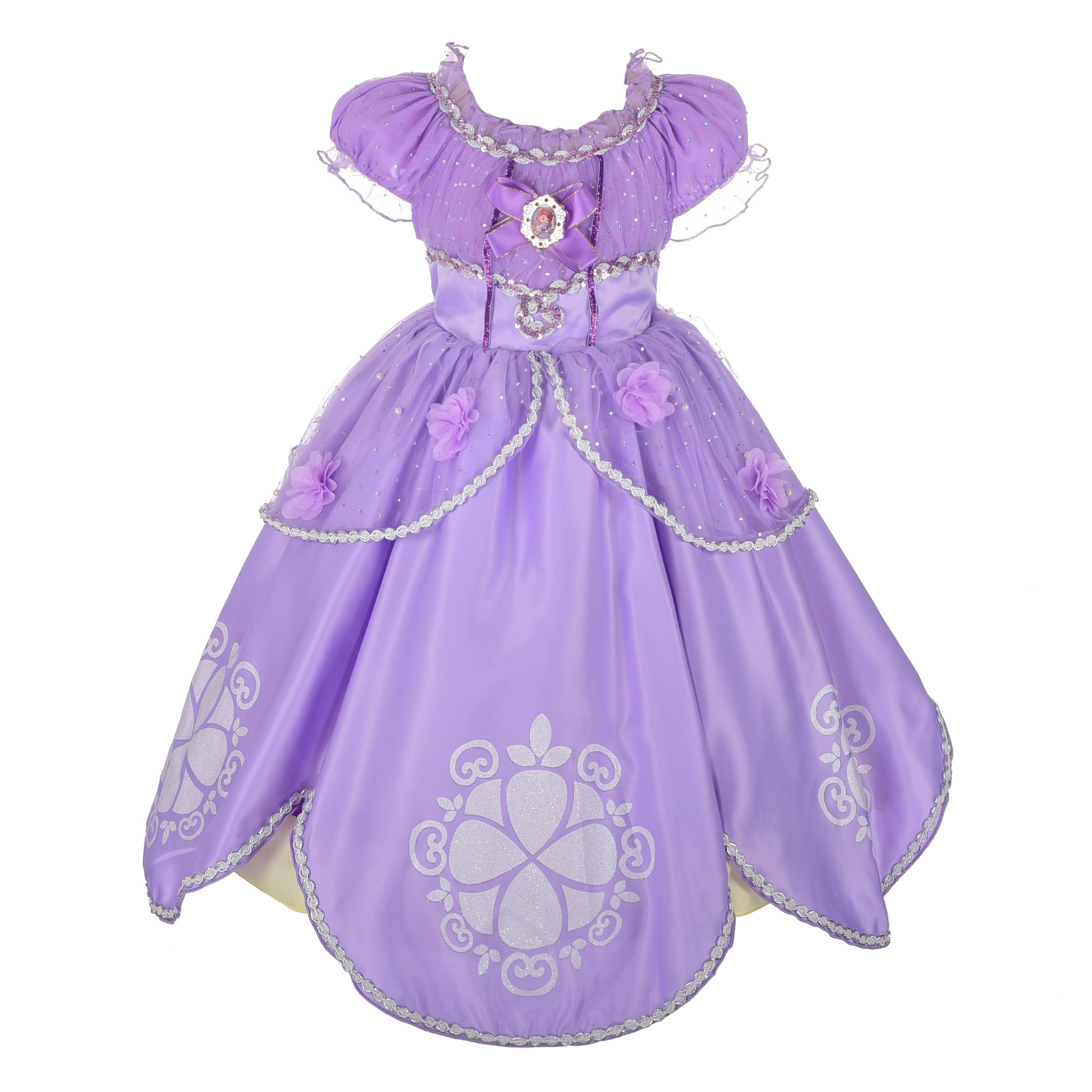Dressy Daisy Girls' Princess Sofia Dress up Costume Cosplay Fancy Party Long Dress Size 3T/4T