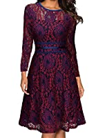 Abby&Mavis Womens Retro Floral Lace Skater Bridesmaid Lined Cocktail Swing Dress