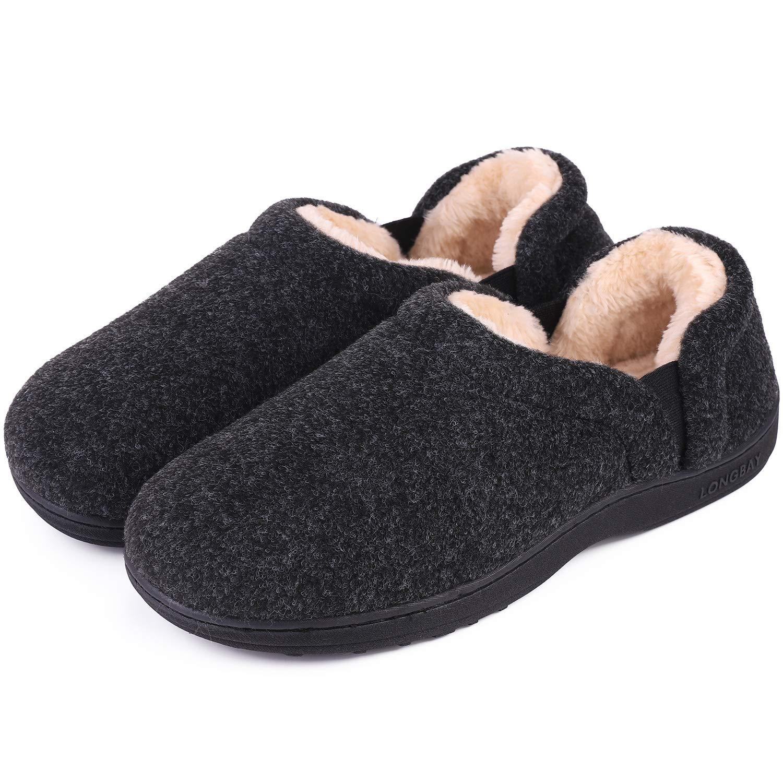 LongBay Men's Cozy Memory Foam Slippers Comfy House Shoes