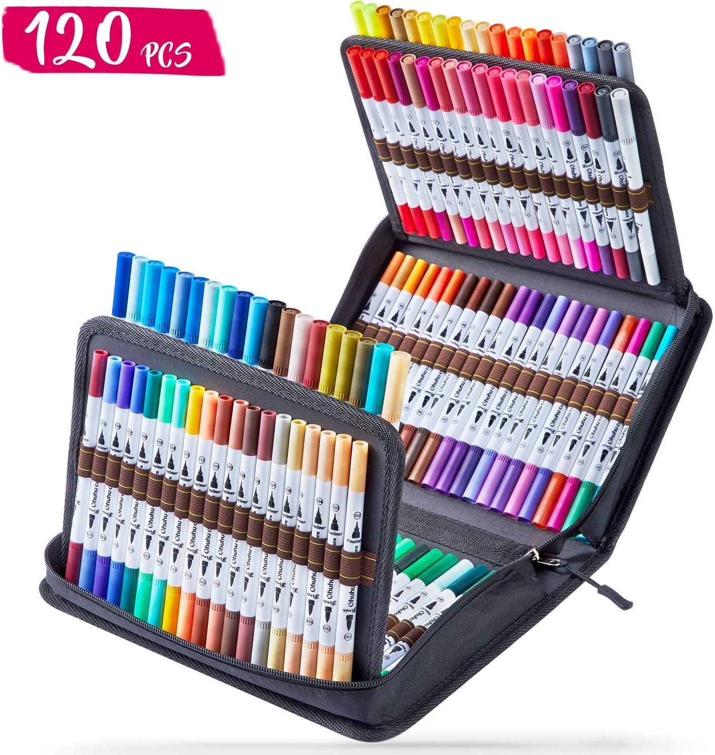 120 Colors Art Markers Set Water Based Marker for Calligraphy Drawing Sketching Coloring Bullet Journal Back to School Gift Ohuhu Dual Tips Coloring Brush Fineliner Color Marker Pens