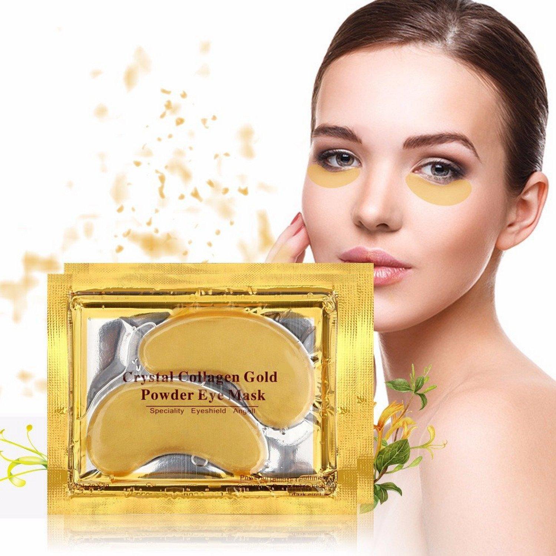 24 Karat Gold Eye Mask Powerful Anti Aging Treatment Removes Bags Puffiness Dark Circles 10 Pack of 24 Karat Gold Eye Mask by Zipwaze