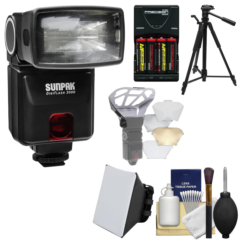 Sunpak DigiFlash 3000 e-ttl II電子フラッシュ+バッテリー/充電器+三脚+ソフトボックス+ディフューザーキットfor Canon EOS 6d、70d、7d Mark II Rebel t3、t3i、t5、t5i、sl1カメラ   B00RKJW74Q