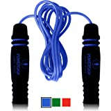 PowerSkip Jump Rope - Skipping Rope with Memory Foam Handles and Weighted Speed Cable