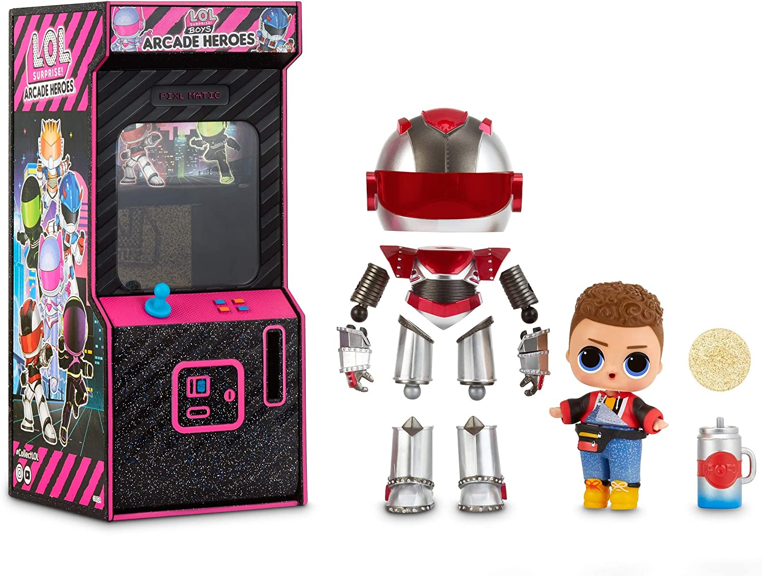 Amazon Com L O L Surprise Boys Arcade Heroes Action Figure Doll With 15 Surprises Toys Games