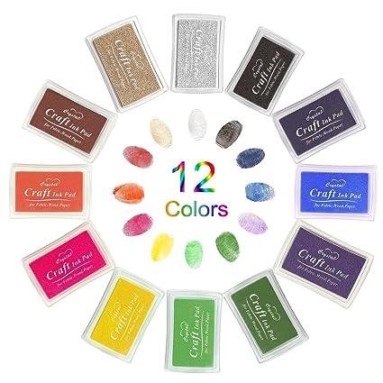 Lnkey Ink Pads 12 Colors Non Toxic Finger Stamp Set For Kids Multicolor