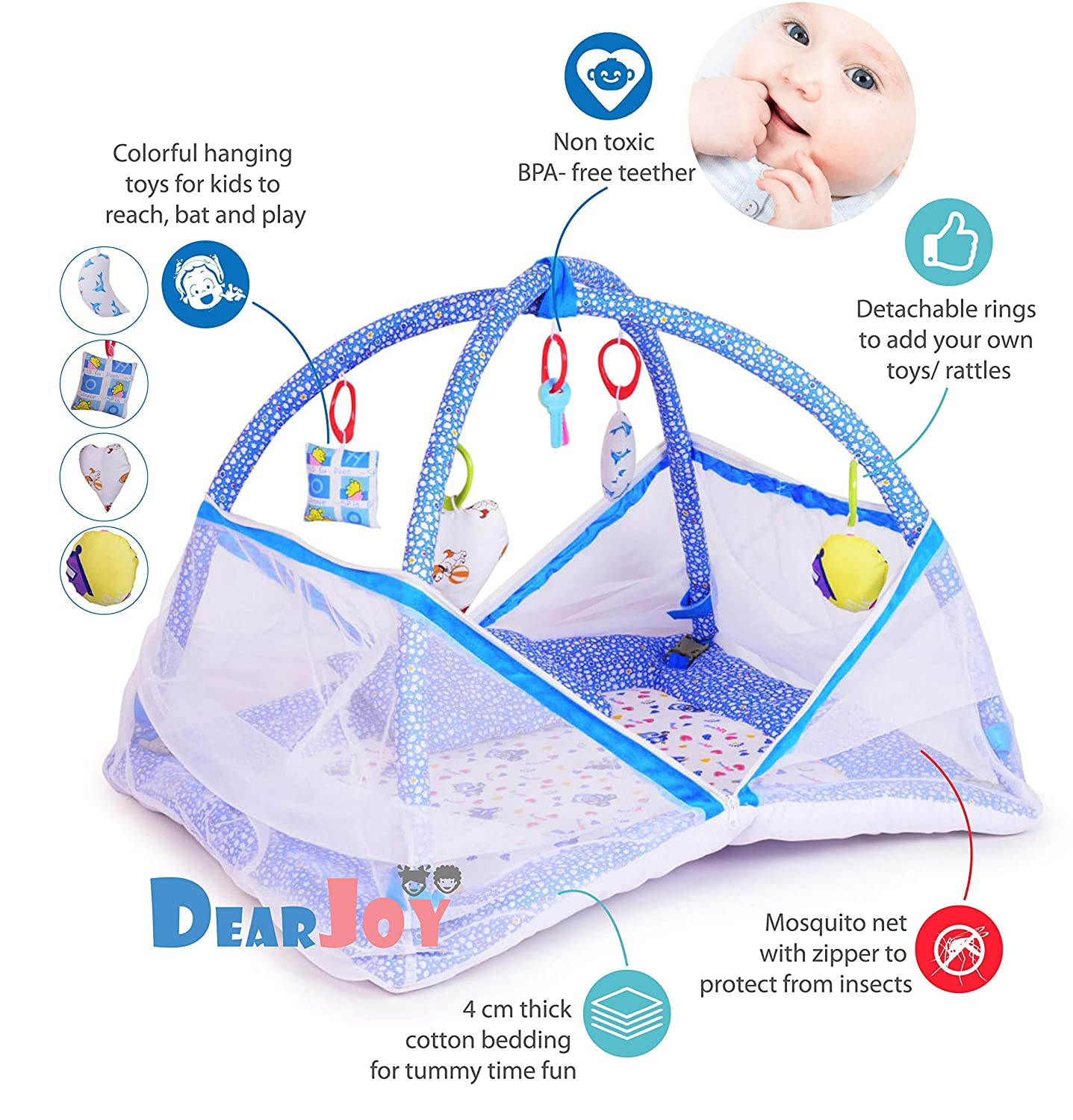 DearJoy Baby Kick and Play Gym with Mosquito Net and Baby