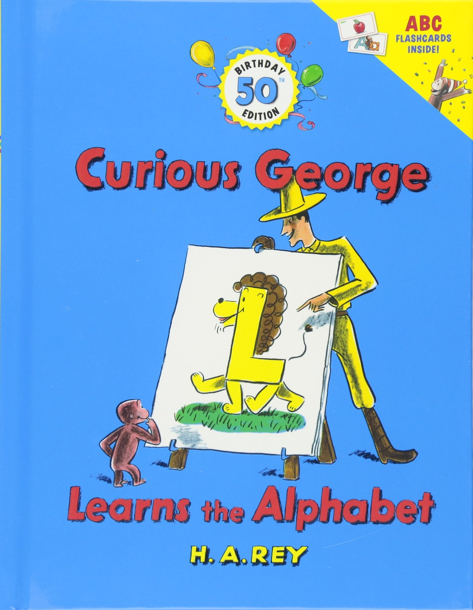 Curious George Learns the Alphabet (50th Birthday Edition with flash cards) by imusti