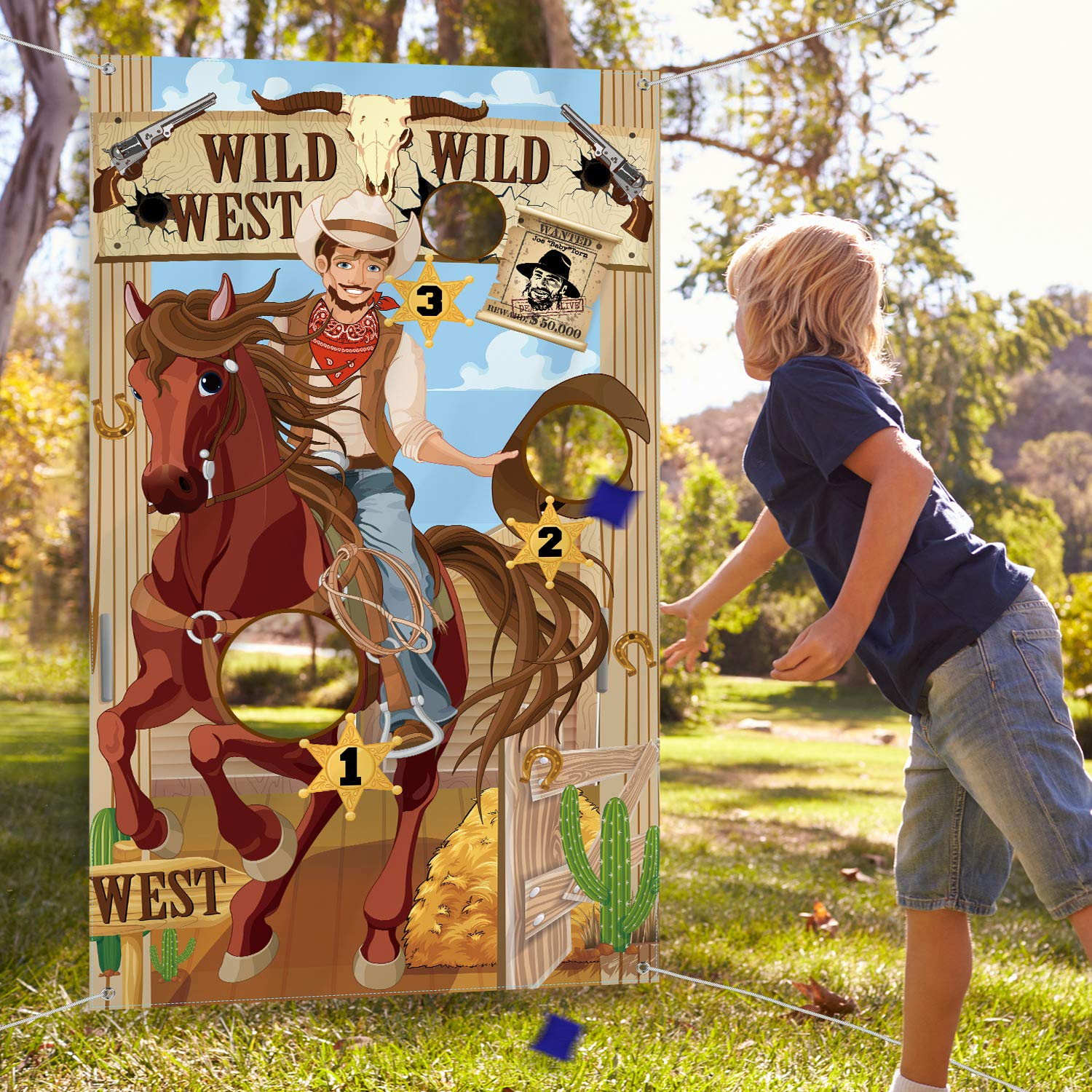 Western Party Cowboy Toss Games with 3 Bean Bags, Fun Western Game for Kids and Adults in Western Themed Activities Western Cowboy Decorations and Supplies by Blulu