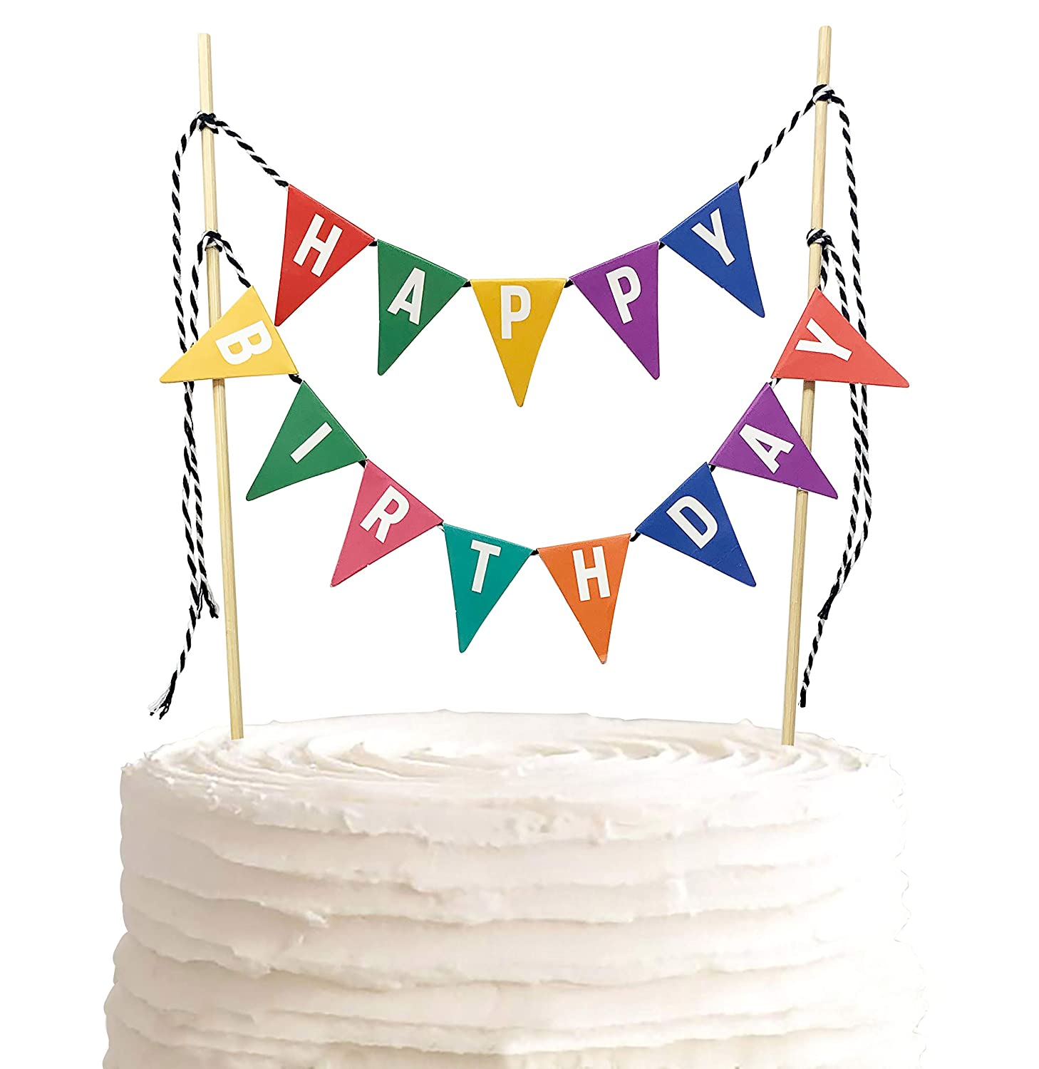 TECCA Happy Birthday Cake Topper Banner with Colorful Double-Sided Bunting Paper Flags. Handmade Food-Grade Safe Multi-Colored Party Decor. Pre-assembled and Reusable for any Age or Themed Party.