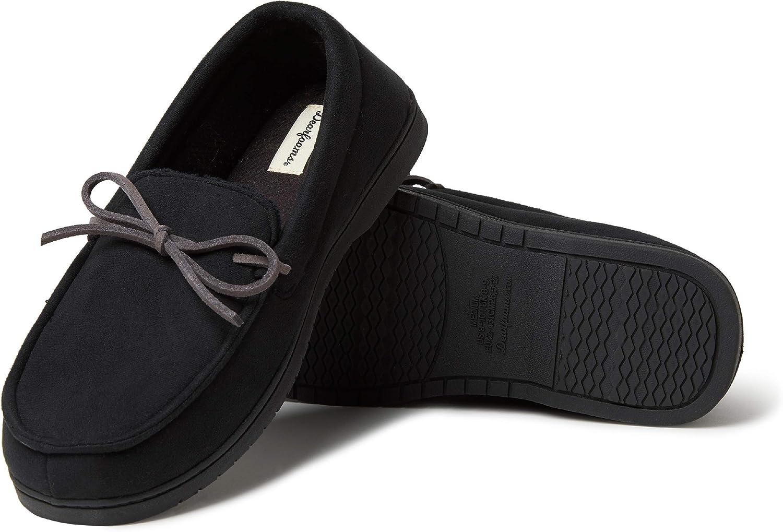 Dearfoams Men's Moccasin with Tie Slipper, Black, Large