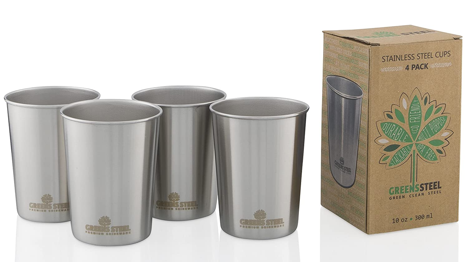 10oz Stainless Steel Cups for Kids - Metal Cup - Fun Animal Edition (4 Pack) By Greens Steel SYNCHKG130441