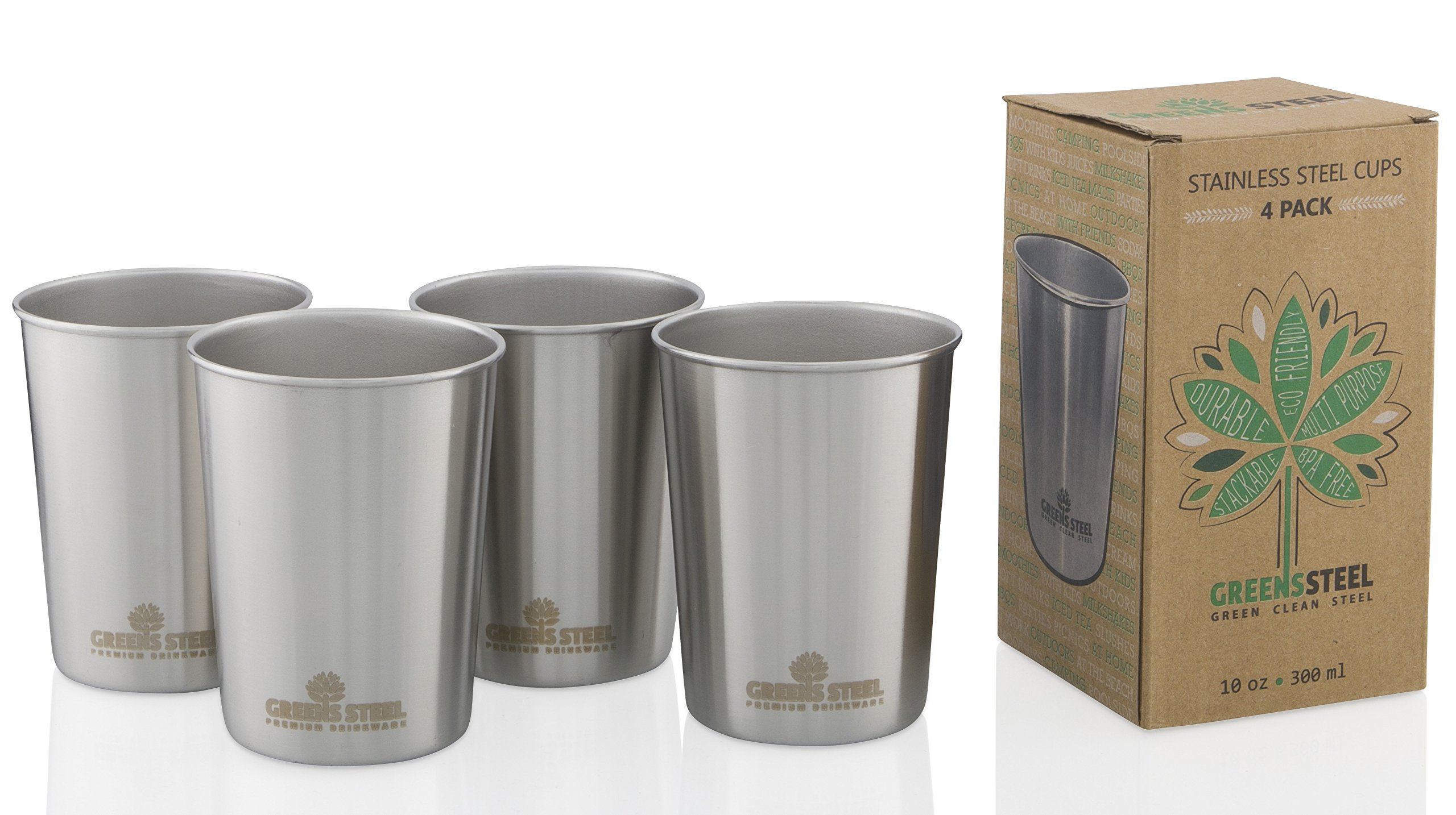 10oz Stainless Steel Cups - Metal Cups For Kids - BPA free (4 Pack) by Greens Steel