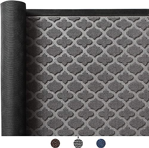 Color Geometry Outdoor Door Mat 47X70 Rubber Mats, Low-Profile Doormat, Indoor Outdoor, Waterproof,Mat for Floor, Patio, Entry, Back Front Door,Grey