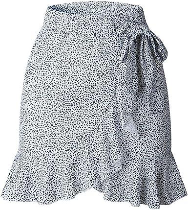 Henwerd Womens Fashion Summer Short Skirt Printed Dot High Waist Casual Mini Skirt
