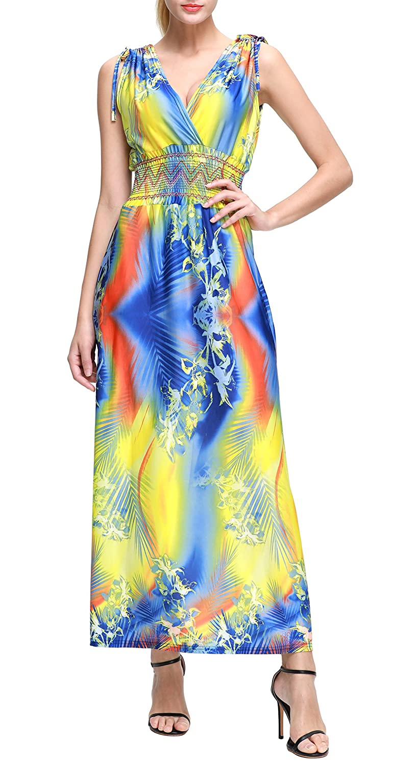 f1f23538f Wantdo Women s Deep V Printed Floral Bohemian Casual Holiday Maxi Dress for  Women Plus Size  Amazon.co.uk  Clothing