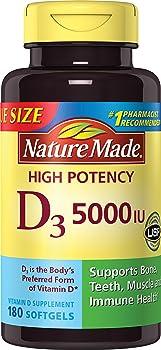 Nature Made 180 Softgels Vitamin D3 5000 IU