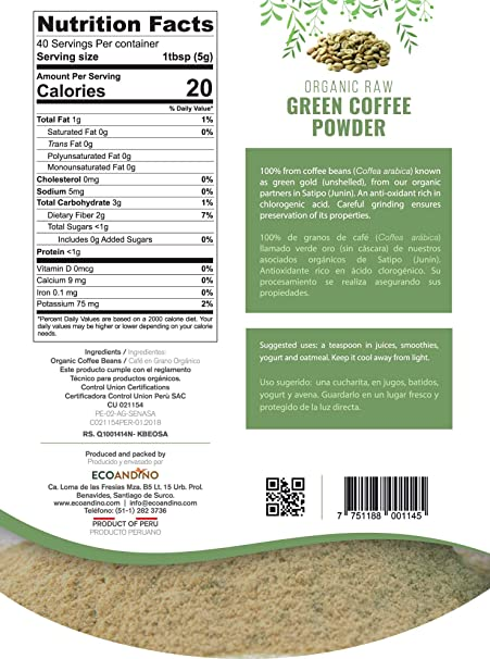 Amazon.com : Ecoandino Organic Raw Green Coffee Powder 7.05 oz (200 grams) Resealable Doypack bag (Pack of 2) : Grocery & Gourmet Food