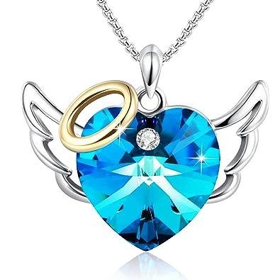 Pendentif aile d'ange en plaqué or et avec cristaux bleu de Swarovski