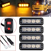 AUTOUTLET 4 X 12/24V 4LED Strobe Light Amber Flashing Recovery Lightbar Truck Beacon Waterproof IP65 with Light Switch Mounting Bracket & Screws
