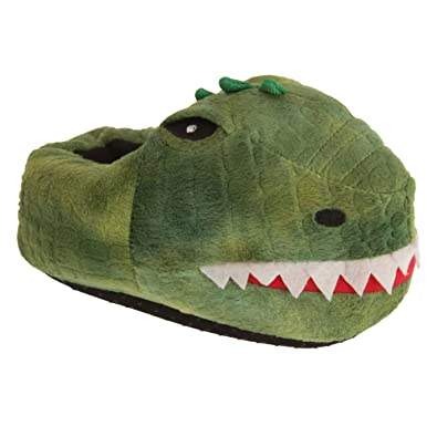 67007e28292 Slumberzzz Childrens Kids Dinosaur Slippers (9 10 Child UK) (Green)   Amazon.co.uk  Shoes   Bags
