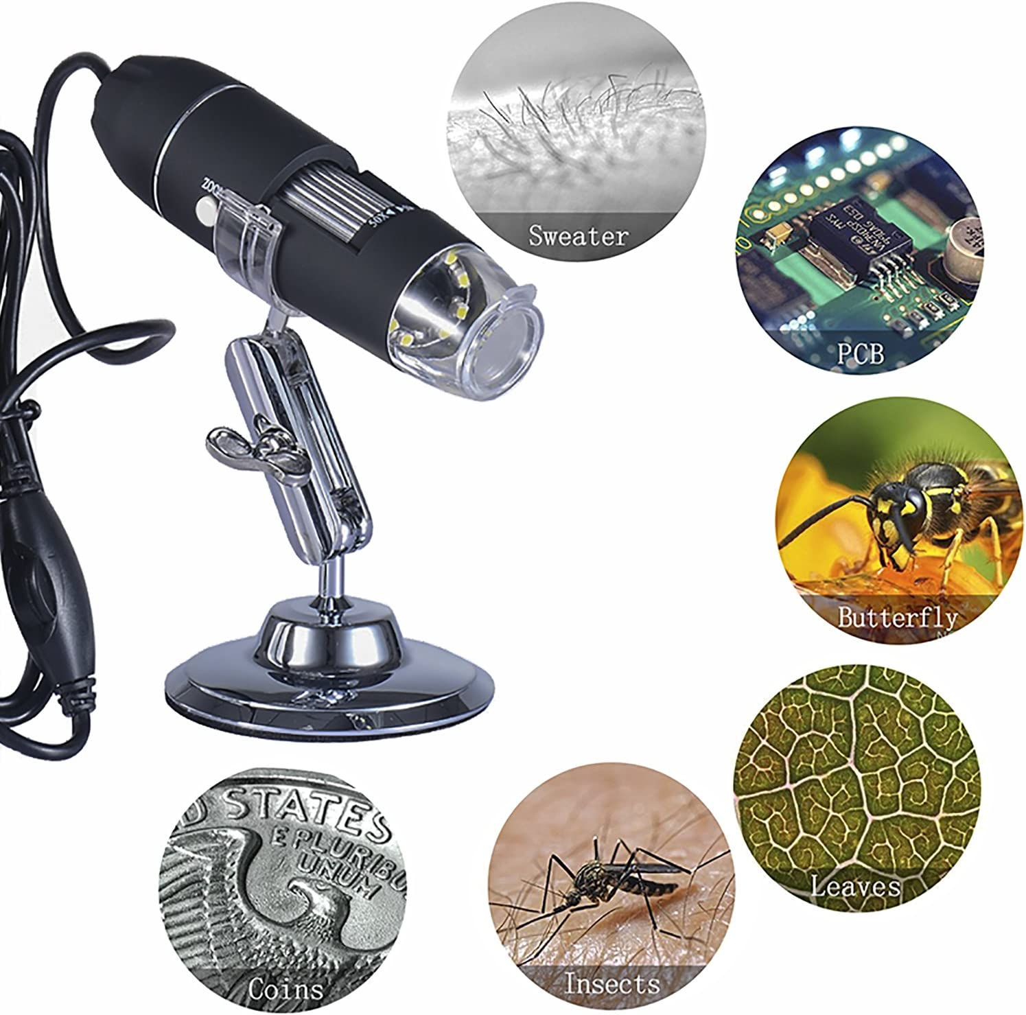 USB Digital Microscope-1000X Magnification Endoscope for Windows-Android-Vista-Linux【Including OTG for Android Device】 8-LED Electronic Magnifier,2.0MP HD Zoom Lens Camera
