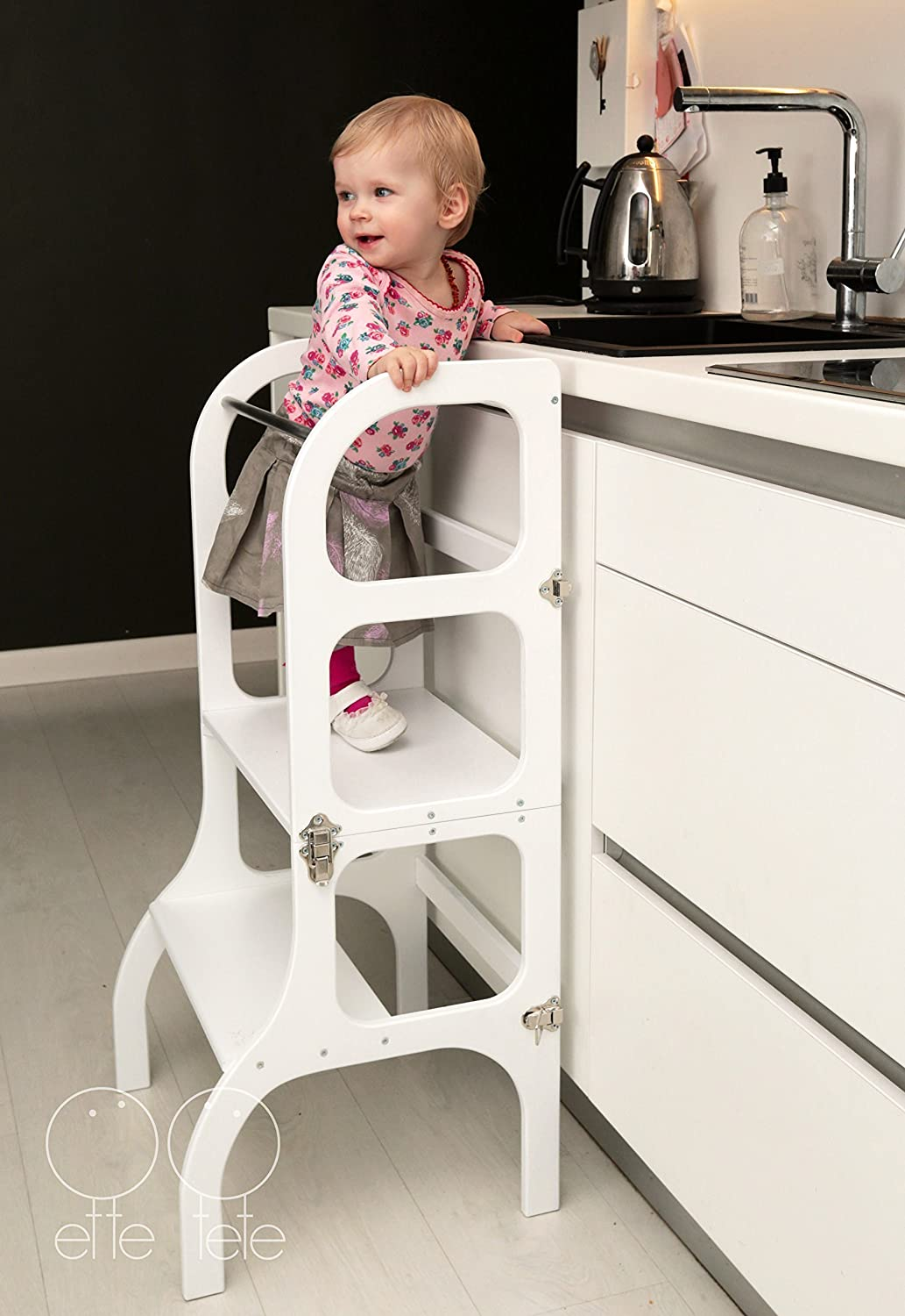 kitchen step stool WHITE color//antique BRASS clasps Montessori learning stool table//chair StepnSit all-in-one Convertible Helper tower