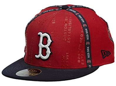 New Era Boston Red Sox Fitted Hat Mens Style  HAT607-NAVY RED Size 95dc86f4e25