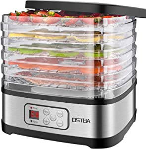 OSTBA Food Dehydrator Machine Adjustable Temperature Control Food Dryer Dehydrator LED Display Electric Food Dehydrator with 72H Timer, 240W, Recipe Book Included
