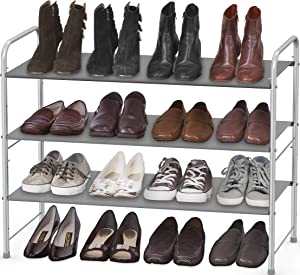 Simple Houseware 3-Tier Shoe Rack Storage Organizer, Grey