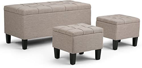 SIMPLIHOME Dover 44 inch Wide Rectangle 3 Pc Lift Top Storage Ottoman