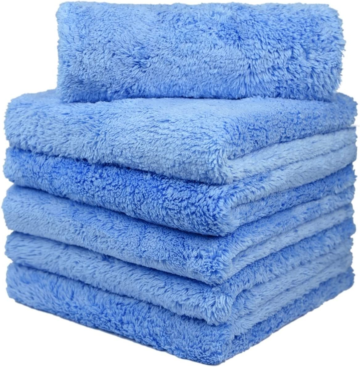 5Pack 16x16 Car Drying Super Absorbent Towel Car care and Motorbike Paint Washing Buffing Ultra Plush 450gsm Detailing Cloth Kingsheep Edgeless Microfiber Towel Grey