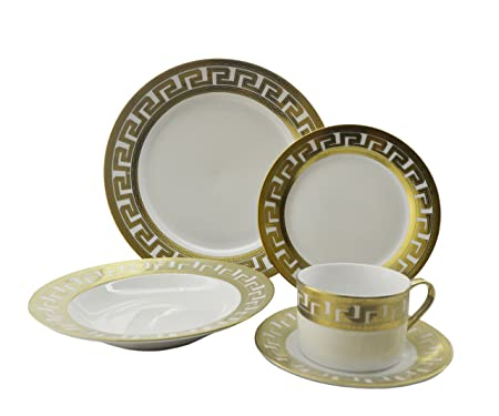 Inspired Versace 40 Piece Dinnerware Set  sc 1 st  Amazon UK & Inspired Versace 40 Piece Dinnerware Set: Amazon.co.uk: Kitchen \u0026 Home