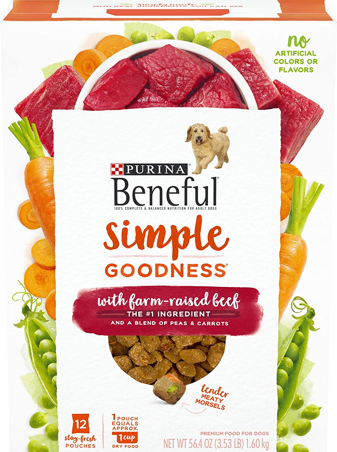 Purina Beneful Dry Dog Food, Simple Goodness With Farm Raised Beef - (4) 12 ct. Boxes