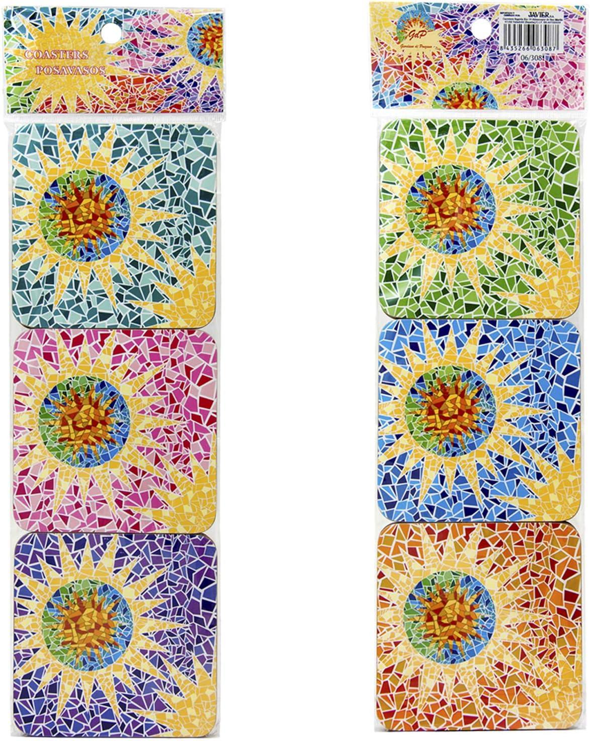 Fleurs ou Bougies sur Votre Table avec Base en li/ège Carr/é de 10 cm /Édition Gaudi Lot de 6 Dessous-de-Verre Giordano di Ponzano/® Premium Design pour Tasses