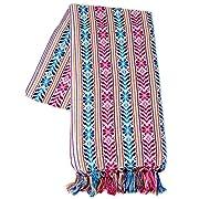 XL 9 ft Long Doula Mexican Rebozo Shawl (Doula White w/Design)