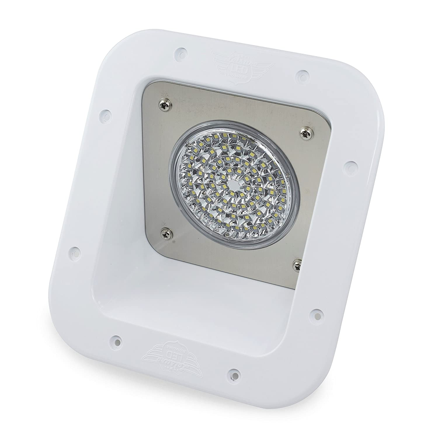 Led rv exterior flood porch utility light white 12v 1100 lumen lighting fixture replacement lighting for weekend warrior rvs trailers campers