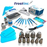Frostinc Perfectly Assorted Cake Decorating Supplies Kit 34 Pcs - 10 Russian & Cone Icing Tips with 2 Couplers, 2 Reusable & 6 Disposable Piping Bags, 8 Model Tools, Scrapers & BONUS Items
