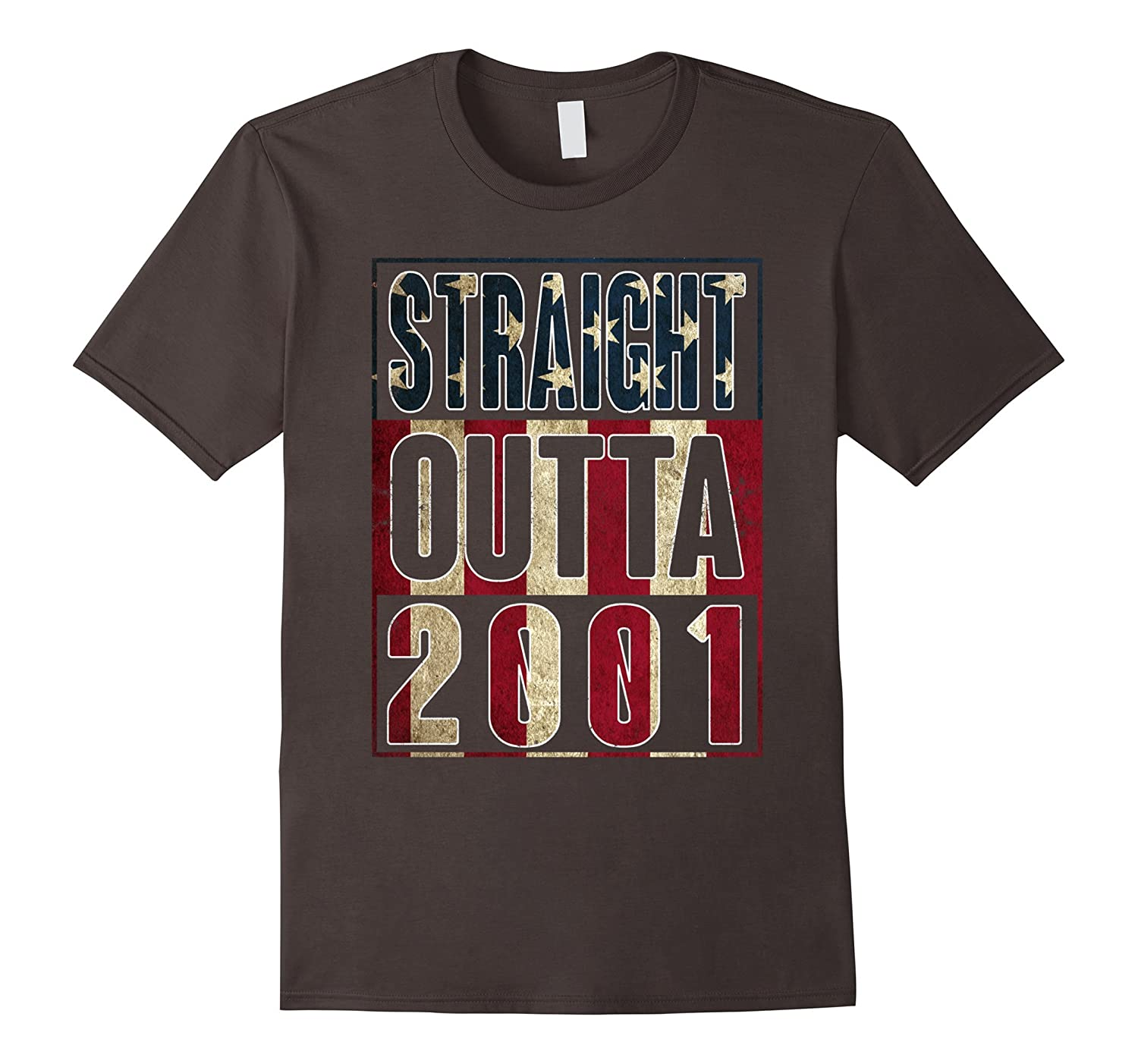 16th Birthday Straight outta 2001 American flag T Shirt-Vaci