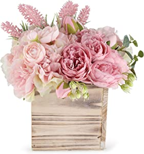 Faux Flower Arrangement in Vase - Life Like Silk Flower Bouquet Set in Wood Square Planter - Faux Flower Set Ideal for Wedding, Party, Décor – Pink Flowers for Dining Room or Kitchen