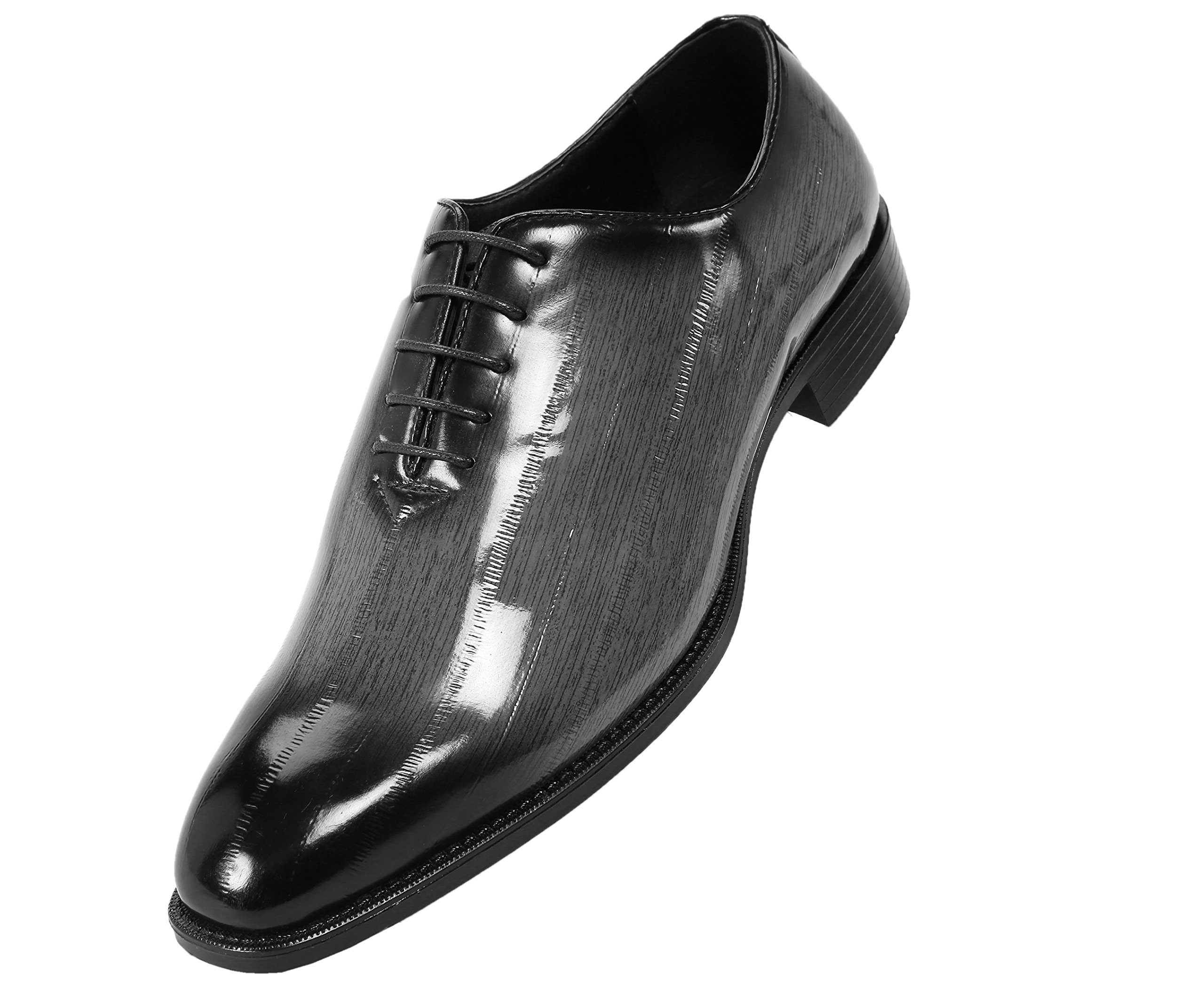 Bolano Mens Exotic Faux Eel Skin Printed Oxford Dress Shoe with Black Burnished Toe, Style Brayden