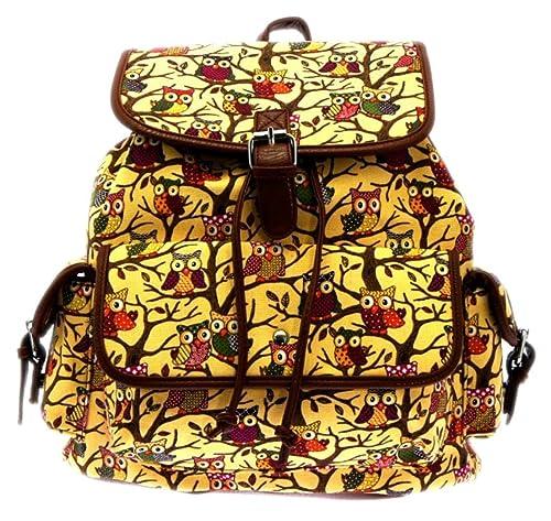 Girly HandBags Búhos Estampado Mochila Tela Lienzo Bolsa Vendimia Colegio Escuela Retro Mochila: Amazon.es: Zapatos y complementos