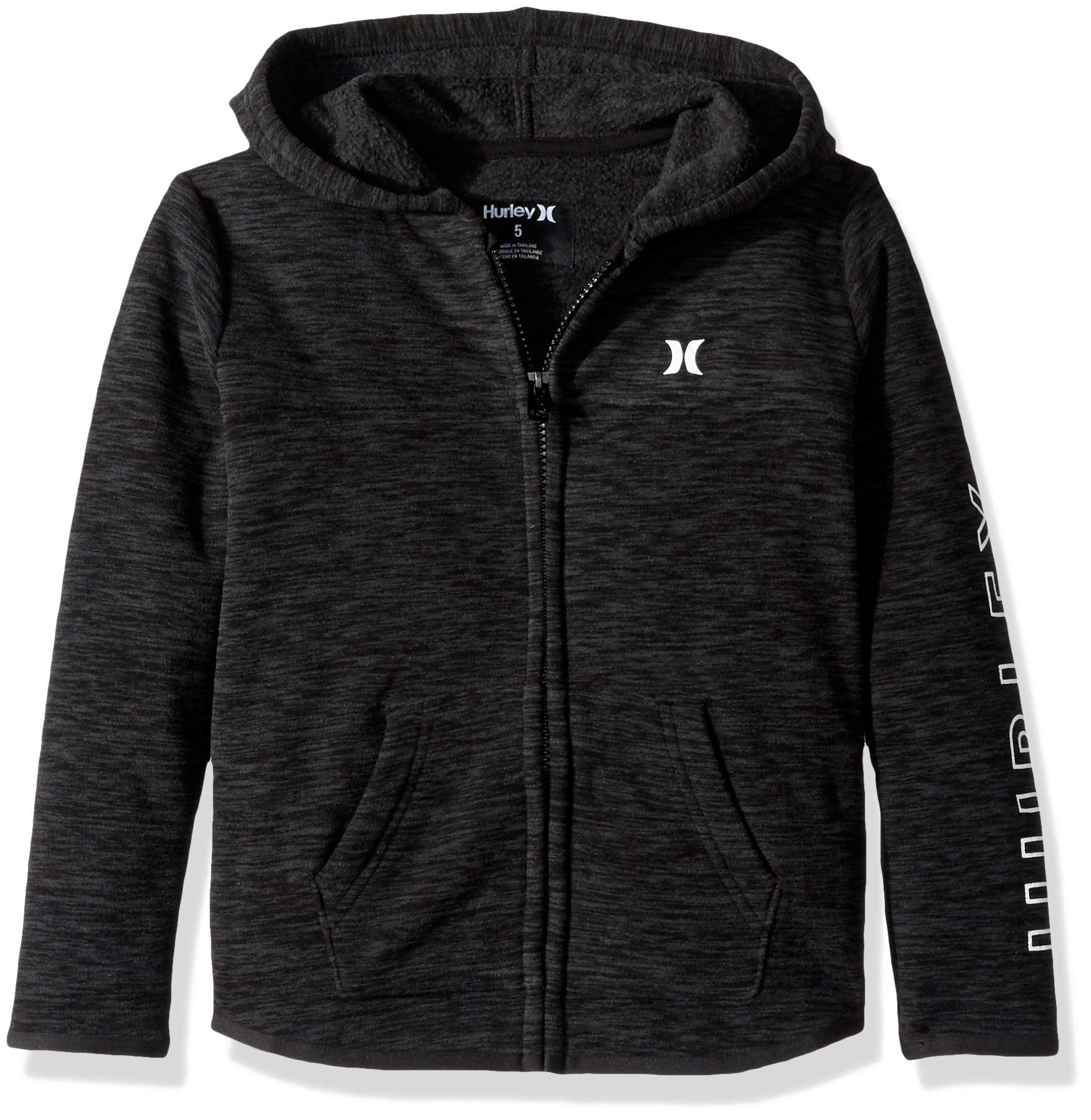 Hurley Boys Full Zip Sweatshirt, Black Heather Sleeve Logo L