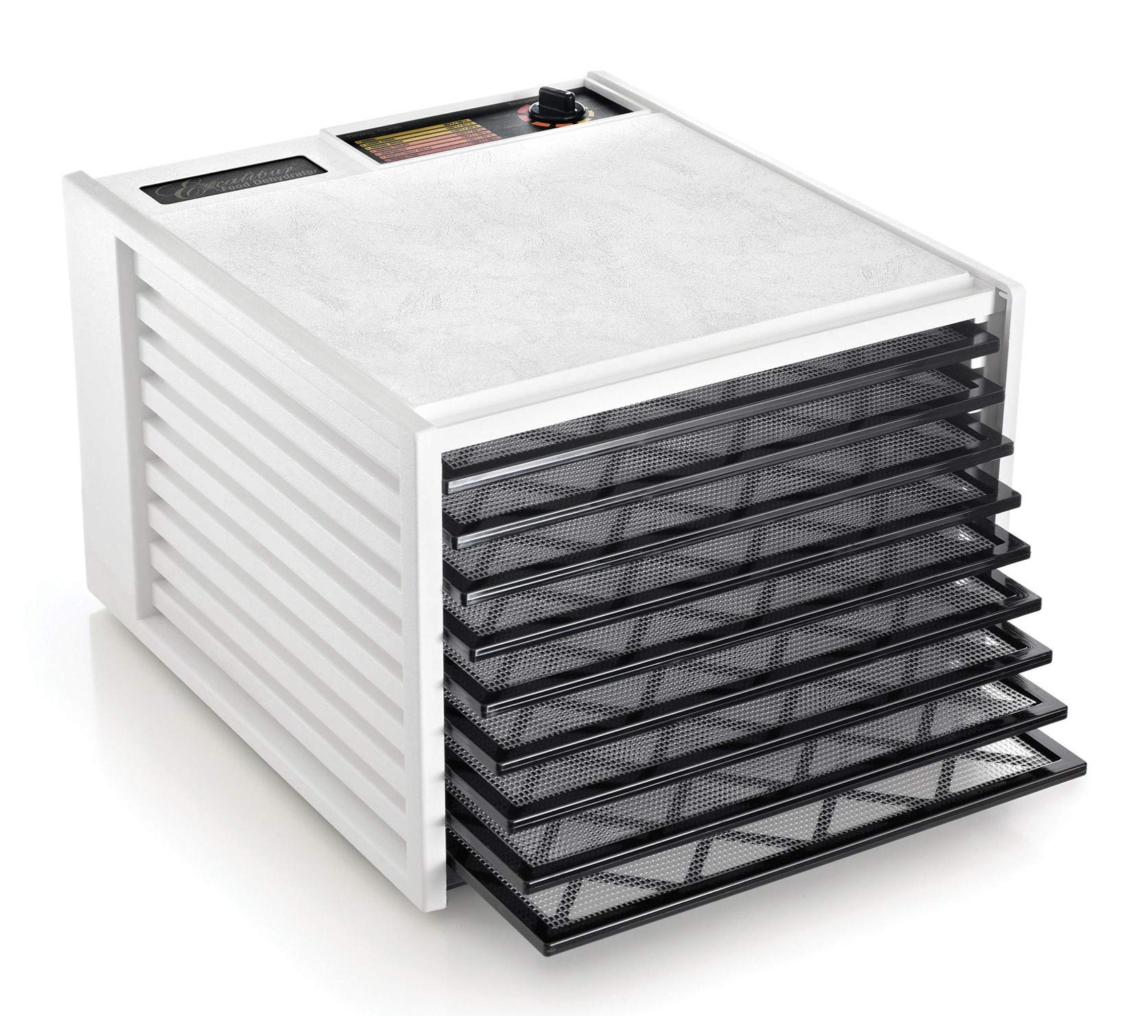 Excalibur 3900W 9-Tray Electric Food Dehydrator with Adjustable Thermostat Accurate Temperature Control Faster and Efficient Drying Includes Guide to Dehydration Made in USA, 9-Tray, White by Excalibur