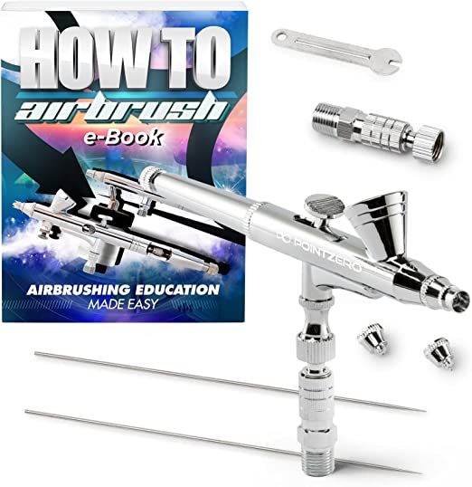 .2mm .3mm .5mm PointZero Dual-Action 7cc Gravity-Feed Airbrush 3 Tip Set