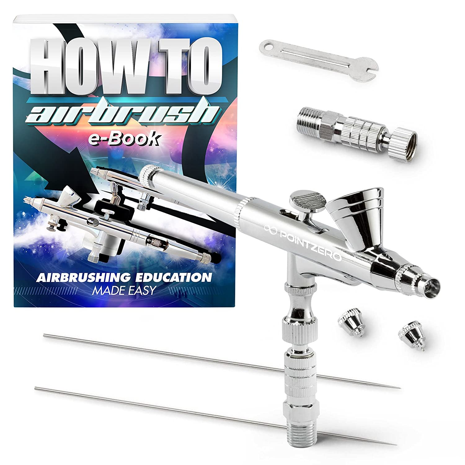 PointZero Dual-Action 2cc Gravity-feed Airbrush 3 Tip Set (0.2mm 0.3mm 0.5mm) PointZero Airbrush 4336951474