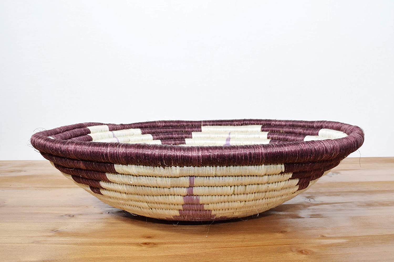 12 Inches Sisal /& Sweetgrass Basket Handmade in Rwanda Large Hand Woven African Basket RB307