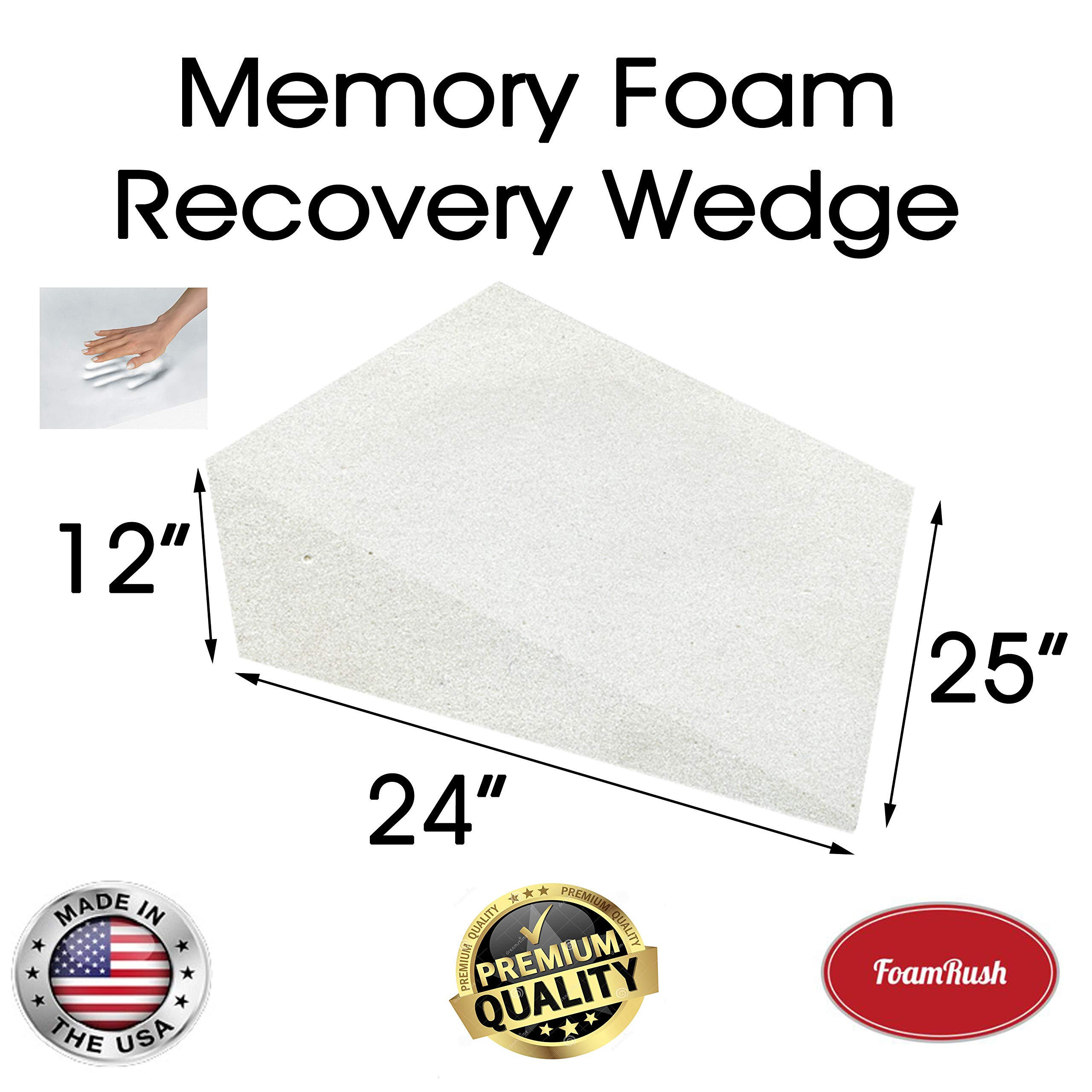 FoamRush 12'' H x 24'' L x 25'' W Premium Quality Therapeautic Memory Foam Bed Wedge Cushion Replacement Best for Sleeping, Reading, Rest or Elevation (Relives Acid Reflux, Snoring & Back Pain) by FoamRush